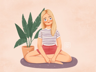 cute girl illustration woman female young blond yoga logo character design blonde girl character girl digital art illustration character design
