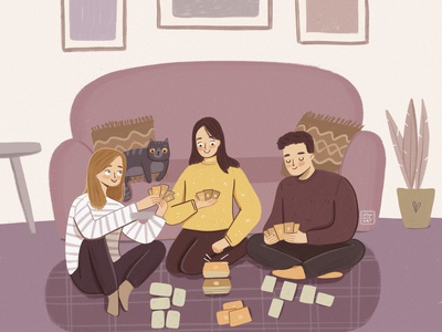 Card Games Time! having fun friendship friends home living room sofa playing games young man woman grain ui branding flat digital art character design illustration character design