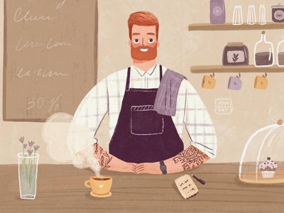 Barista with a cup of coffee photoshop drink service espresso smiling purple cafe coffee tattoo barista male man grain flat illustration branding digital art character design design character