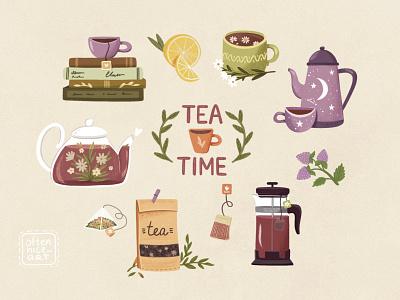 Tea Time Set stickers minimal kettle teabag tea cup mug cup lemon teapot tea green yellow purple digital art grain design illustration branding logo flat