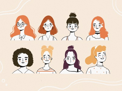 Faces and Hairstyle simple illustration female avatar expressions hairstyle line art vector people faces branding girl character woman girl flat character design digital art illustration character design