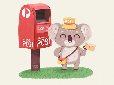 Australian Postman cute mail letter australia postman koala grain logo branding character design digital art character illustration design