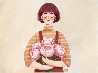 Girl with Peonies spring bouquet peonies peony female woman girl character branding girl character design digital art character illustration design flowers