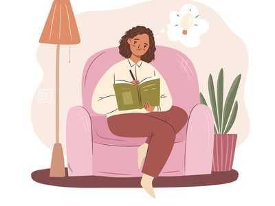 Time for writing! woman thinking idea sitting pink cute afro american black student freelance write study home cozy girl flat digital art character design illustration