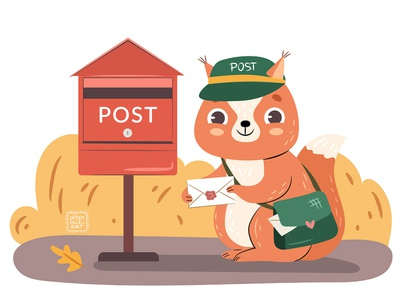 Cute Forest Mail vector forest service postbox delivery cartoon children animal cute autumn mail post squirrel logo character design flat digital art character illustration design