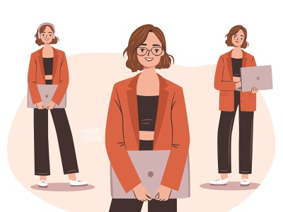 IT girl young tech freelancer business illustrator vector empowered empowerement professional laptop female woman branding it girl flat character design character illustration design