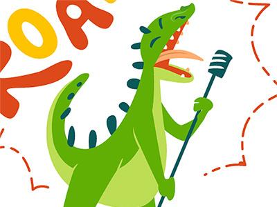 Be Wild! Singin dino. singin illustration dinosaur