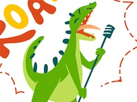 Be Wild! Singin dino. singin illustration dinosaur