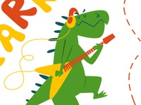 Have a great Day musik adobeillustration vector guitar illustration dinosaur