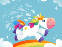 Crazy Unicorn illustration for children unicorn