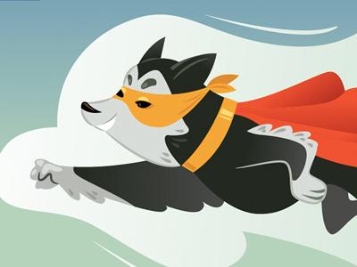 Superdog super hero dog illustration vector fly