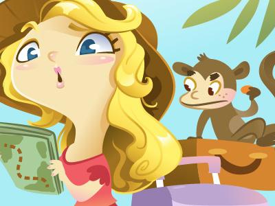 Journey girl illustration vector monkey