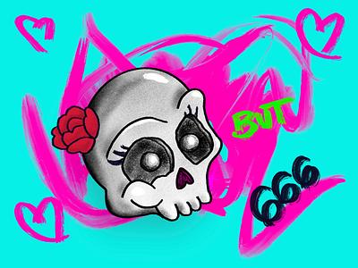 Sweetheart but 666 skull quarantine procreate art illustration