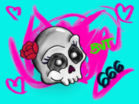 Sweetheart but 666 skull quarantine procreate art illustration