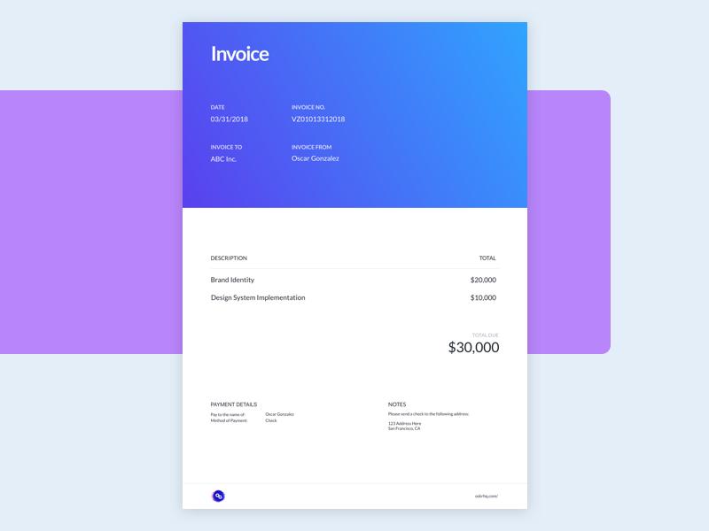 New Invoice design invoice branding
