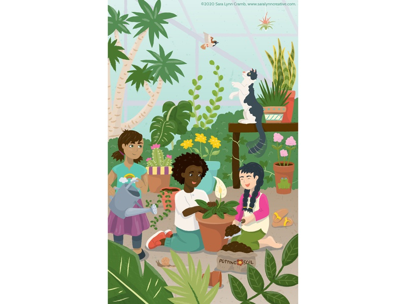 Afternoon in the Greenhouse flowers childrens publishing nonfiction growing cat diversity children gardening plants greenhouse kidlitart animals illustration vector