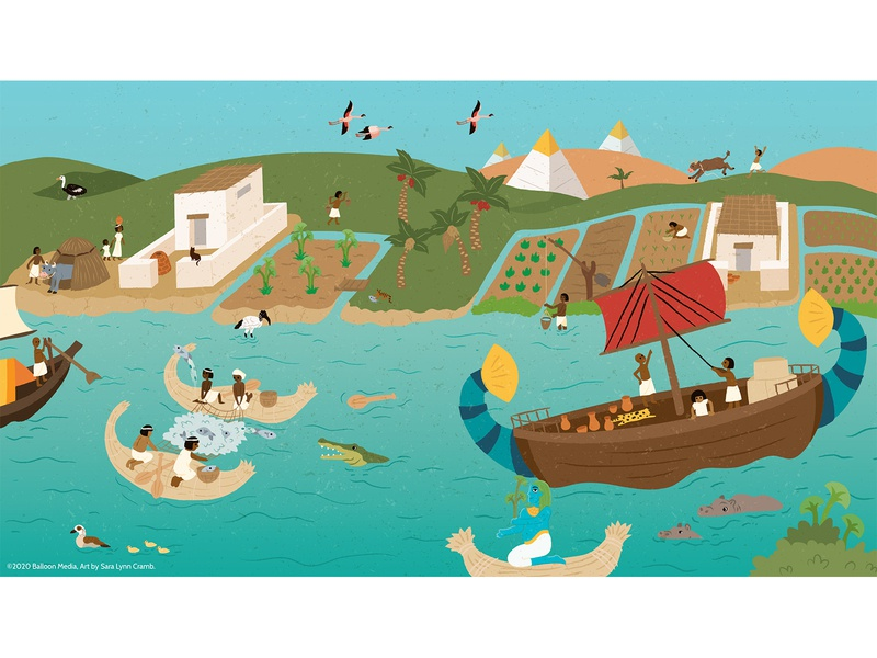 The Nile River childrens publishing children book illustration kidlitart farming fishing sailing ship nile river ancient egypt egypt ancient history history educational nonfiction educational illustration vector