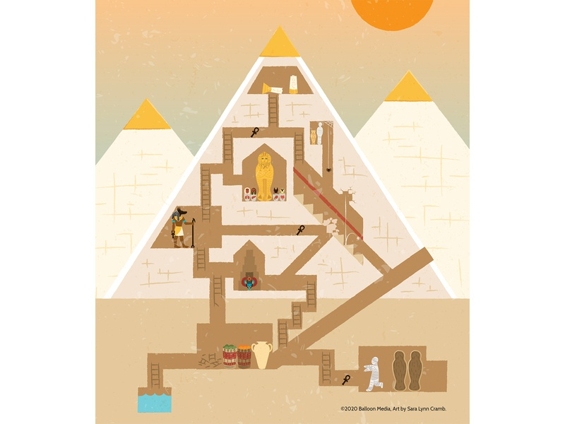 Pyramid maze educational maze childrens publishing ancient history pyramids egypt ancient egypt history kidlitart educational illustration nonfiction illustration vector