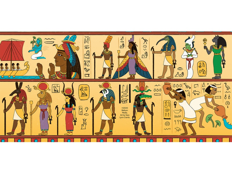 Egyptian Gods and Goddesses egyptian hieroglyphics educational ancient history egyptian gods ancient egypt gods childrens publishing kidlitart educational illustration nonfiction illustration vector