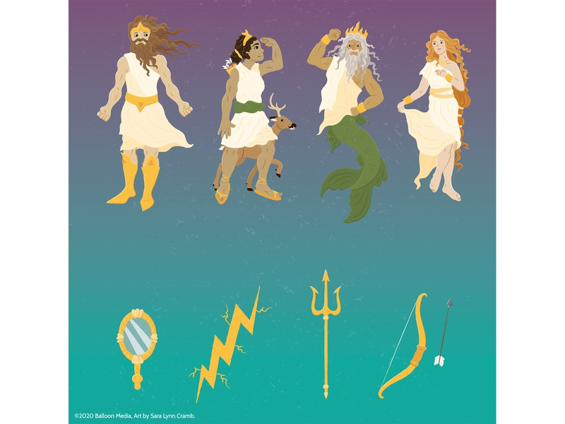 Ancient Roman Gods and Goddesses educational goddess deity ancient world ancient rome kidlitart childrens publishing educational illustration nonfiction illustration vector