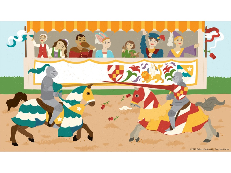 Jousting  Tournament history educational knights horses jousting middle ages childrens publishing illustration nonfiction educational illustration vector