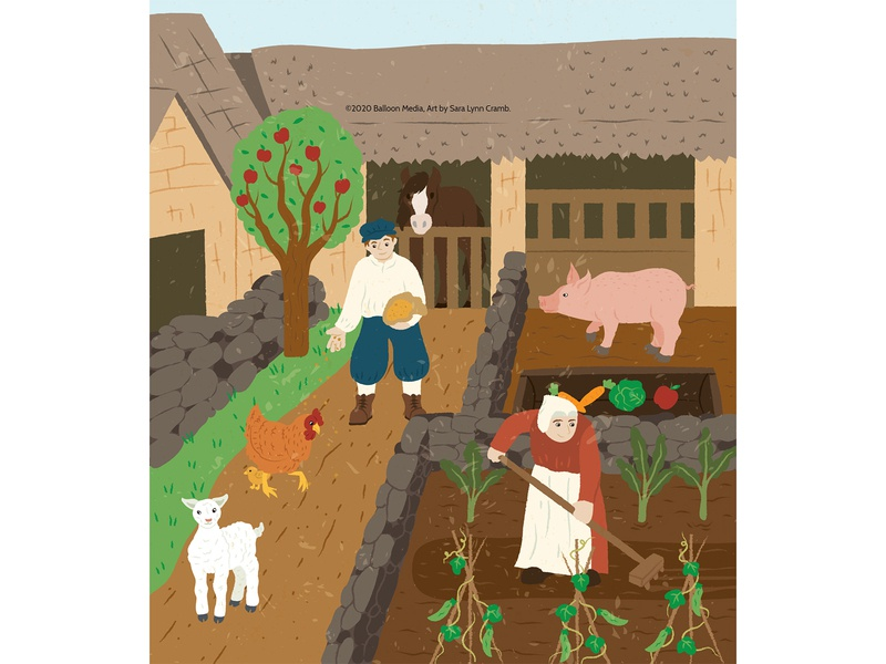 Feeding the Castle farm animals educational middle ages farm childrens publishing kidlitart educational illustration animals nonfiction illustration