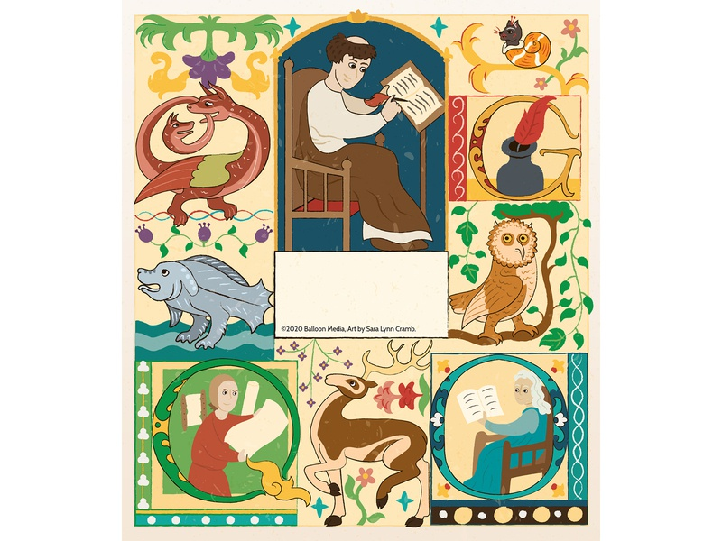 Illuminated manuscript animals educational middle ages childrens publishing kidlitart educational illustration nonfiction illustration vector illuminated manuscript