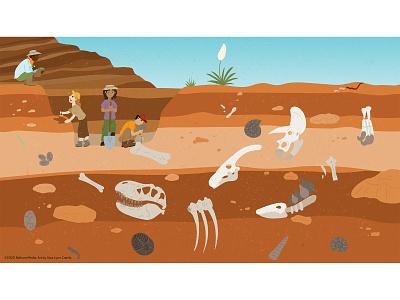Dino Discovery natural science prehistoric animals paleontology dinosaur dino fossil childrens publishing kidlitart educational illustration nonfiction sciart illustration vector