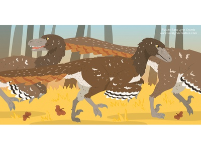 Raptors in Autumn natural science activity book childrens publishing educational illustration nonfiction paleoart kidlitart sciart illustration vector dinosaur velociraptor