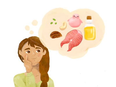 Healthy fats course-Thinking about healthy eating digital art nonfiction biology educational illustration people food cute educational illustration texture healthy fats healthy eating digital illustration adobe fresco sciart