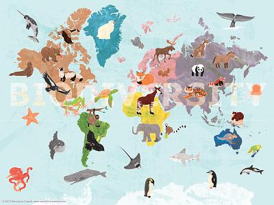 Biodiversity digital collage biodiversity world map childrens publishing nature lets draw the change our planet week wildlife digital illustration map educational illustration animals sciart illustration vector