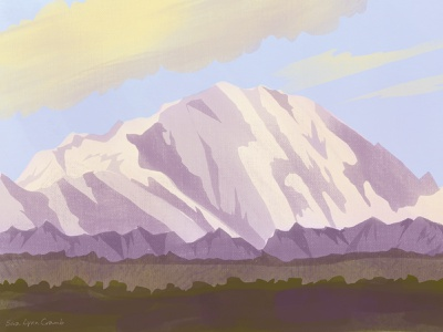 Denali Study yellow purple national park digital art digital illustration procreate mountain denali nature illustration art color study aprilcolors2021