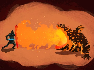 fire toad procreate orange knight digital illustration digital art fantasy dragon fire toad animals illustration