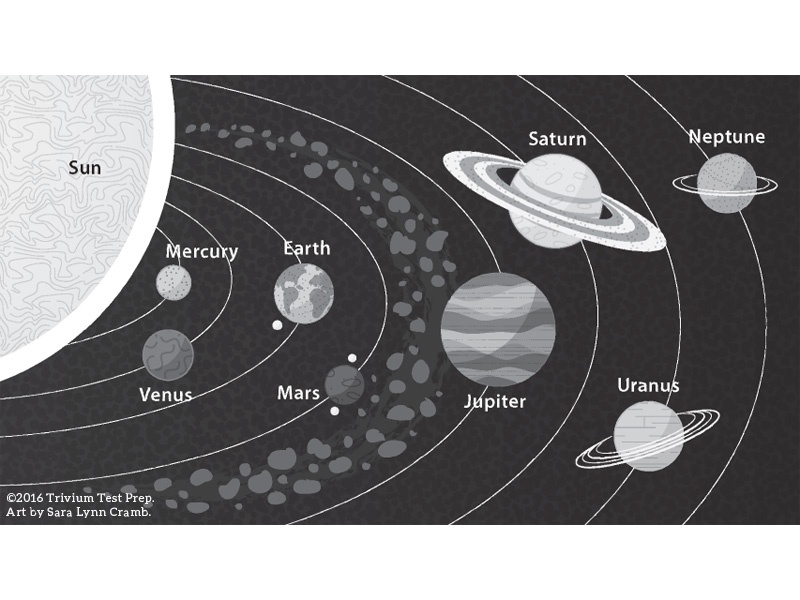 Solar System greyscale illustration sciart sun planets solar system science outer space vector test prep greyscale