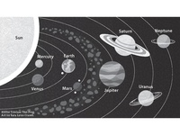 Solar System greyscale illustration