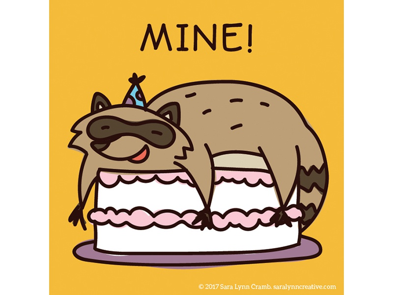 Quirky Animal Birthday Card Illustrations Racoon By Sara Lynn Cramb