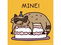 Quirky Animal Birthday Card illustrations-Racoon
