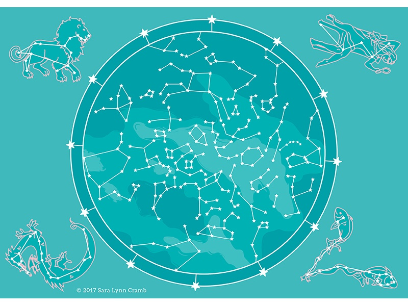Night Explorer Star Map Northern Hemisphere By Sara Lynn Cramb