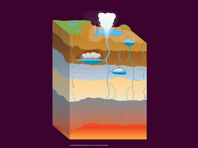 Geyser vector nonfiction sciart educational science earth core magma water geyser