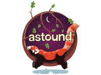 Reimagined Astound logo with red panda
