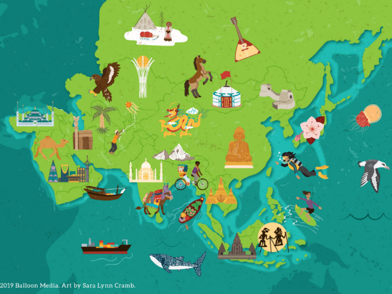 Map Of Asia And Middle East.Asia Cultural Map By Sara Lynn Cramb On Dribbble