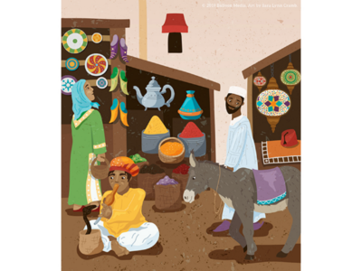 Busy marketplace illustration