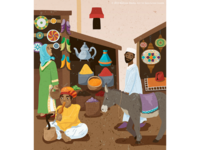 Busy marketplace illustration
