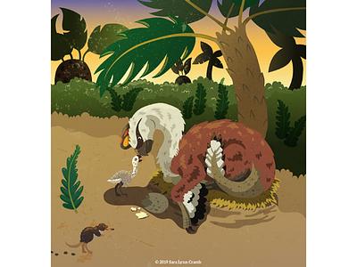 Oviraptor mom with hatchling raptor kidlitart illustration animals prehistoric jungle egg baby hatchling cretaceous dinosaur oviraptor