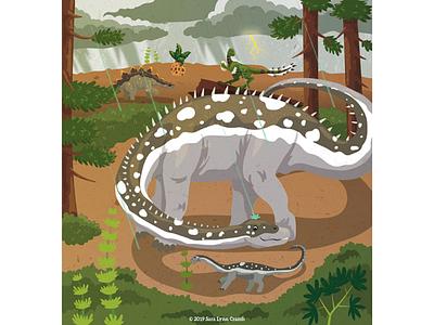 Diplodocus shielding baby from rain animal prehistoric childrens publishing nonfiction kidlitart jurassic thunderstorm sauropod parenting dinosaur diplodocus