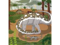 Diplodocus shielding baby from rain