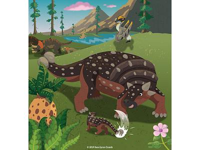 Proud Ankylosaur parent illustration childrens publishing kidlitart sunrise parent animals prehistoric cretaceous dinosaurs dinosaur ankylosaur