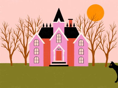Black Cat night day trees scary halloween spooky victorian home house sun moon bad luck black cat haunted house animation illustration