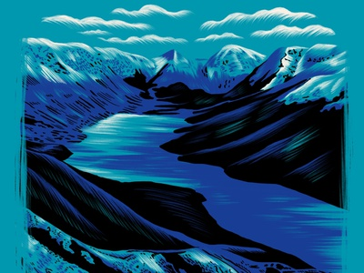 Alaska blue cold snow wild adventure hike climbing camp clouds landscape nature travel river alaska mountains illustration