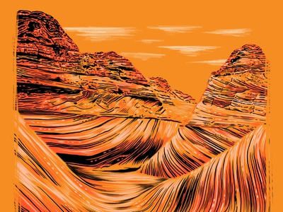 Arizona hot nature outdoors run climb hike sandstone utah arizona wave the wave drawing design illustration